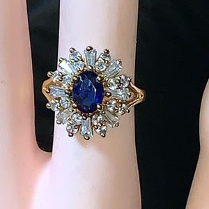 Gold  sapphire and diamond ring size 8